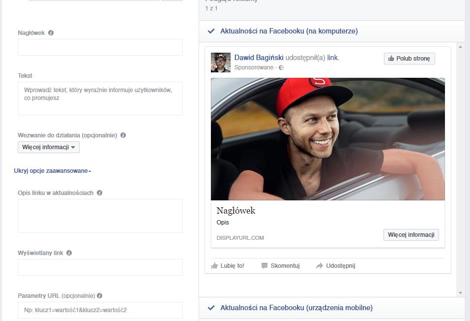 reklamę na facebooku