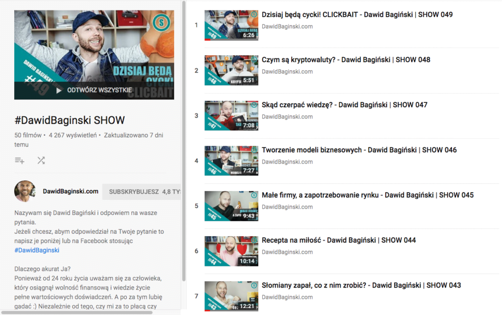 dawid bagiński youtube